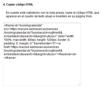 Html Calendario.Como Anadir Su Calendario De Reservas Webreserv En Una